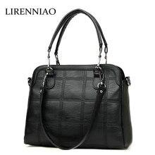 LIRENNIAO 2017 Echtes Qualität Rindsleder Schultertasche Damen Casual Trage Luxus Handtaschen Frauen Tasche Designe
