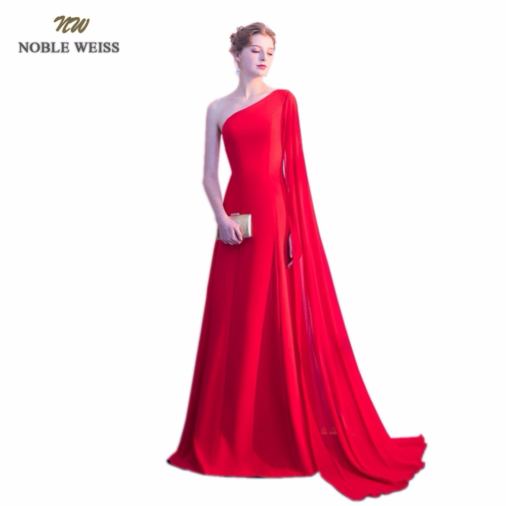 NOBLE WEISS Chiffon Evening Dresses One-Shoulder Floor Length Special Occasion Dresses New Arrival Custom Made Formal Dresses
