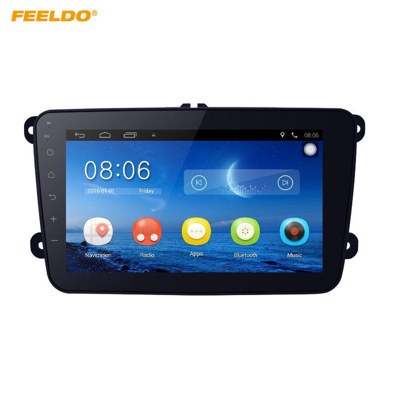 FEELDO 8inch Android 6.0 Quad Core Car Media Player With GPS Navi Radio For Skoda Octavia/Seat/Altea/Leon/Tolendo/Alhambra feeldo 7inch android 4 4 2 quad core car media player with gps navi radio for nissan hyundai universal 2din iso gift am3900