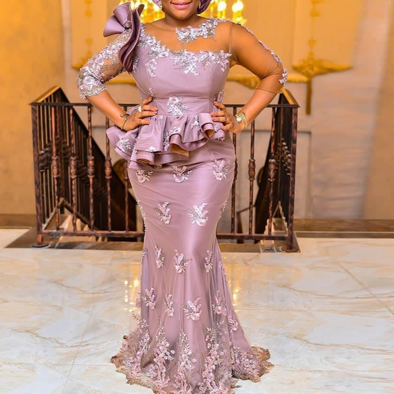 Aso Ebi Style African Mermaid   Prom     Dresses   Long 3/4 Sleeves Nigeria Women Formal Gowns Plus Size Chic Evening   Dress   Abendkleider