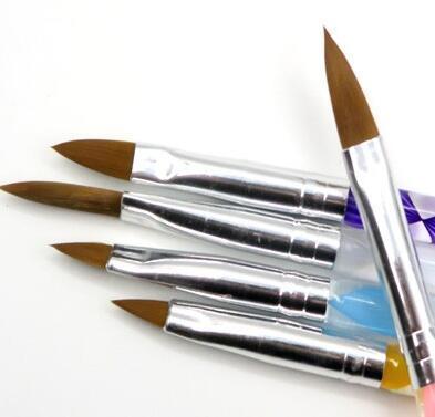 משלוח חינם 5 Pcs חמישה גודל באיכות גבוהה מקצועי אקריליק נוזל לנייל אמנות עט מברשת UV ג 'ל נייל אקריליק אבקה