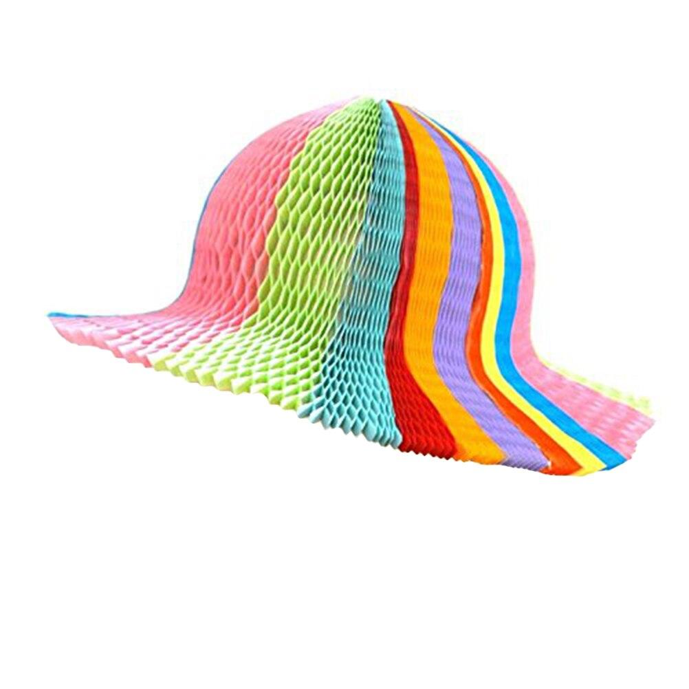 Rainbow color honeycomb paper origami sun hats folding vase hat party  favors diy caps jpg 1002x1002 7f342fac1799