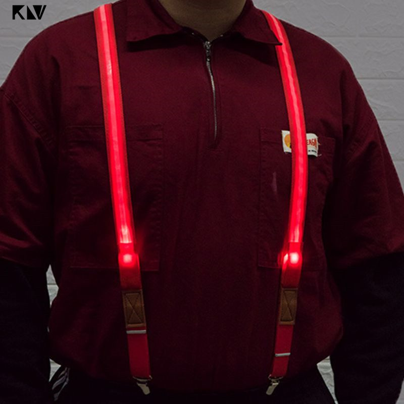 Unisex LED Strip Light Up Suspender Y-Shape Candy Color Adjustable Trousers Running Riding Braces Strong Clip Party Supplies