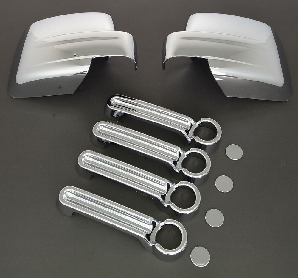 XYIVYG For DODGE NITRO Triple Chrome plated ABS Mirror+4 Door Handle Cover COMBO 2007-2012
