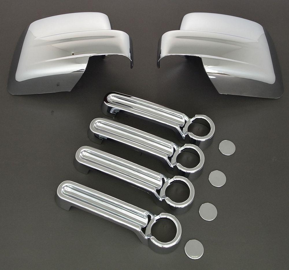 XYIVYG pour DODGE NITRO Triple Chrome plaqué ABS miroir + 4 poignée de porte couvercle COMBO 2007-2012