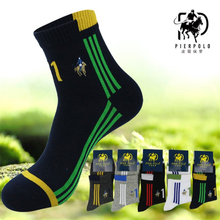PIER POLO new fashion brand quality mens happy socks striped deodorant combed cotton sock Calcetines Largos Hombre