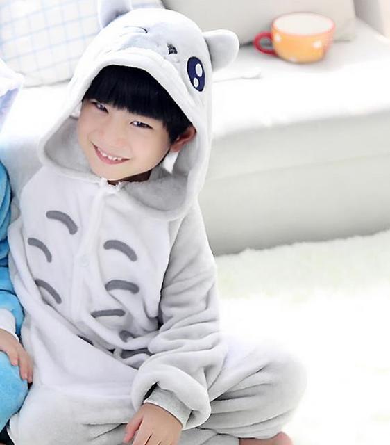 Invierno Caliente de manga Larga Pijama Conjunto Kids Cartoon Totoro Cosplay Onesie Franela Animales Niños Niñas Niños ropa de Dormir