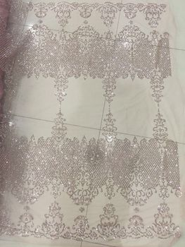 unique embroidery mesh material SYJ-6167  French tulle lace on sale 5 yards with glued glitter for party dress