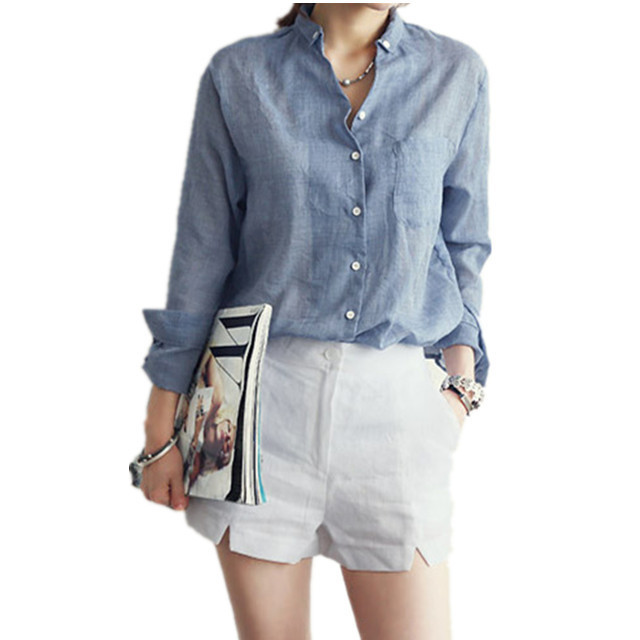 9560f85c2a6 ... Blouse Autumn New Women Blouses White Gray Denim Cotton Linen Shirt  Blouse Autumn New Women Blouses White Gray Denim Blue Long sleeved Female  Shirts ...