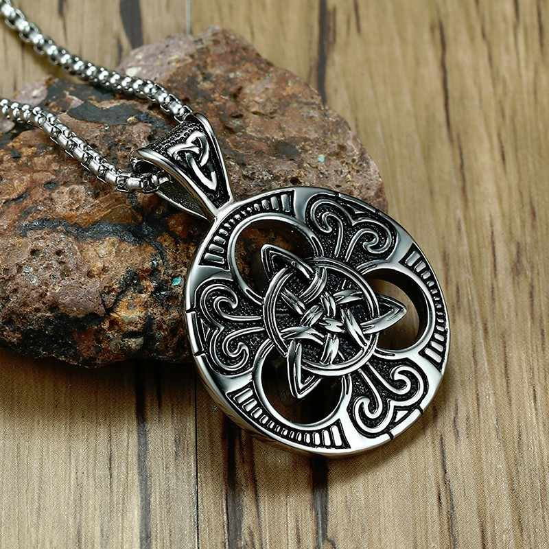 Men's Lrish Celtics Trinitys Knot Pendant Necklace for Men Stainless Steel Unisex Vintage Gotycki Male Jewelry