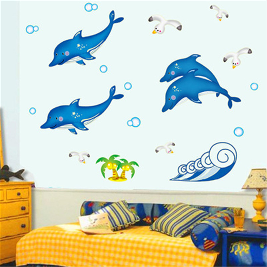 Diy home decoration luminous dolphin wall sticker luminated diy home decoration luminous dolphin wall sticker luminated dolphin wall stickers for childrens room living room wall decor in wall stickers from home amipublicfo Image collections
