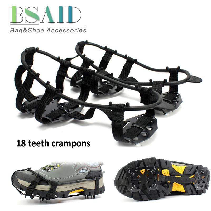 BSAID 18 Teeth Ice Gripper For Shoes Women Men Non-slip Crampons Ice Gripper Spike Grips Cleats For Ice Snow Climbing Hiking New 1 pair ice gripper slipproof strong ice crampons skiing crampons shoes snow walker for snow mountain climbing walking bag