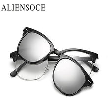 ALIENSOCE Polarization Lens Men Eyeglasses Half Frame TR Frame Magnet Clip Glasses Women Myopia Glasses Frame UV400 Sunglasses