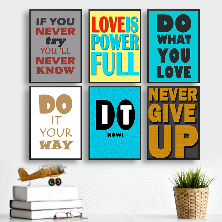 Vintage Style Paper Poster Retro Wall Stickers About Love Slogan