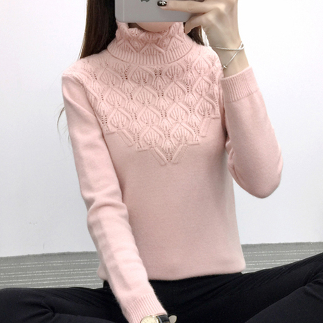 Sweaters And Pullovers For Women 2018 Autumn Winter Solid Turtleneck Knitwear Sweater Female Casual Elastic Slim Warm Coat Femme