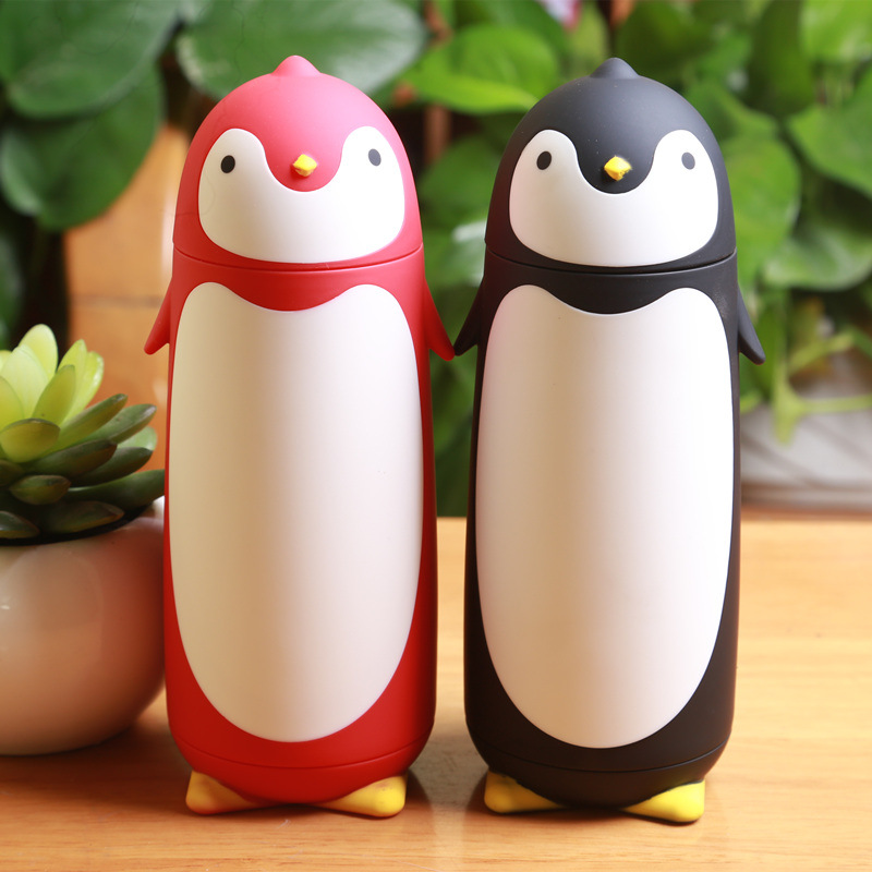 Sweet gift cup children personality stainless steel thermos cup cup Penguin car thermos bottle glass bottle