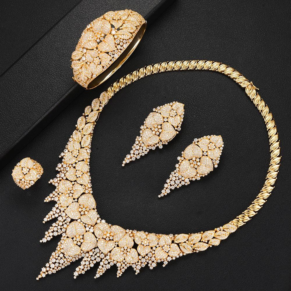 Luxe 4 pièces femmes africaines mariage ensembles de bijoux de luxe multicolore cubique Zircon cristal CZ fiançailles DUBAI nuptiale ensembles de bijoux