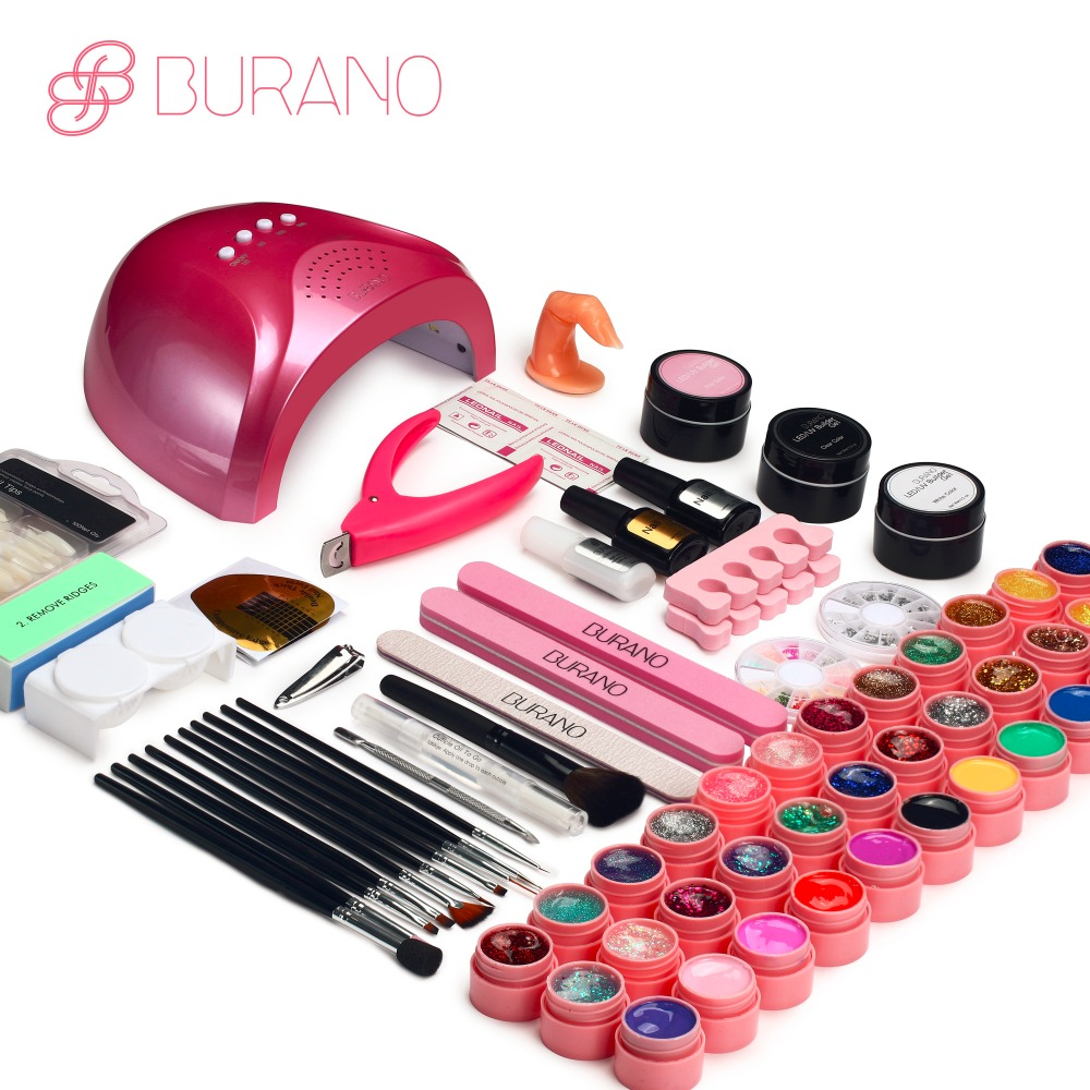 BURANO 48W UV LED Nail lamp 25 LEDs Nail dryer & 36 colors uv gel Nail polish Art Tools nail Set Kit base gel top coat building nail art manicure tools set uv lamp 10 bottle soak off gel nail base gel top coat polish nail art manicure sets
