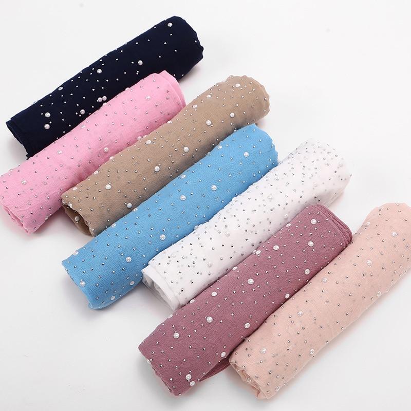 1pc Long Cotton Solid Lace Scarf Muslim Hijab Scarf Full Crystal Pearl Shawl Wrap Scarves 75*180cm