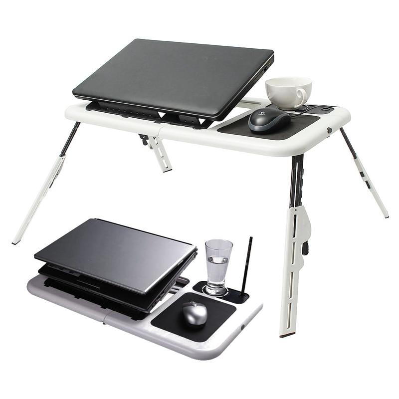 Складной стол ноутбук держатель стойки регистрации с мощным 2 USB вентиляторы охлаждения Мышь Pad стол ноутбук Laptodesk для кровать