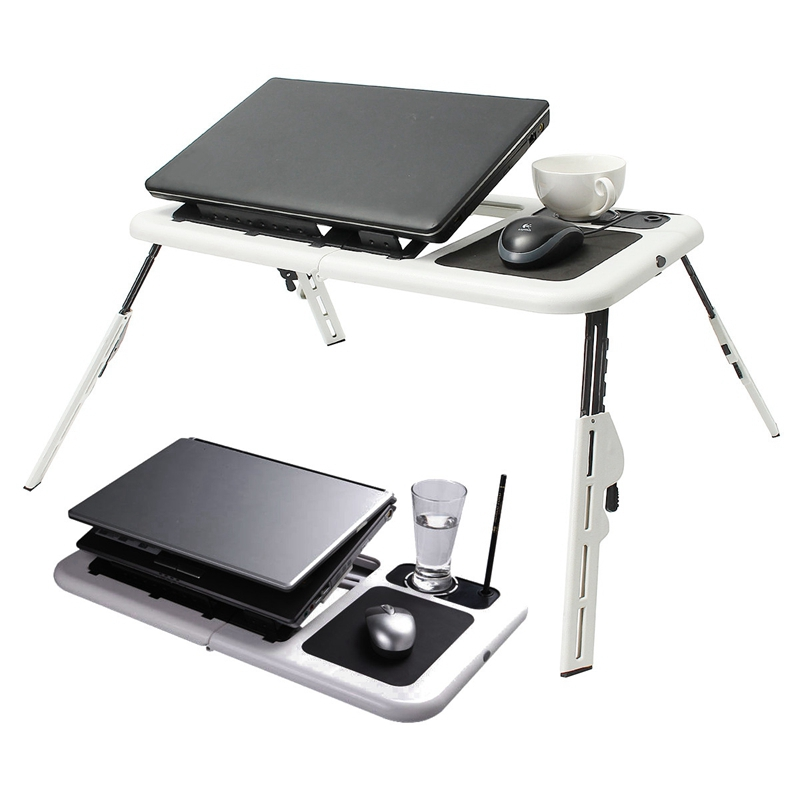 Folding Laptop Desk Table Laptop Stand Desk Holder with Powerful 2 USB Cooling Fans Mouse Pad Laptop Table Laptodesk for Bed