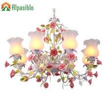 Американская кантри гостиная люстра Светодиодная лампа спальня железная люстра освещение девочка детская комната свадебный цветок розовая люстра