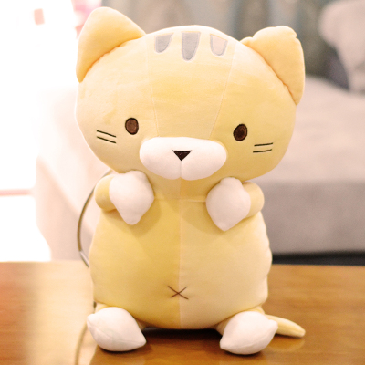 yellow plush cartoon cat toy soft cute stuffed cat doll pillow gift about 50cm 50cm lovely super cute stuffed kid animal soft plush panda gift present doll toy
