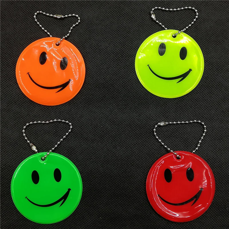 Wholesale 50pcs Smile Face Reflective keychain bag pendant accessories for traffic visibile safety use Bag Ornament