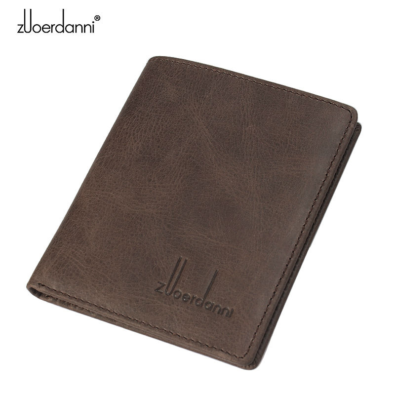 Mini Ultra-thin Wallet Men Vintage Small Purse Genuine Leather Compact wallets Handmade Card Holder Short Design Male