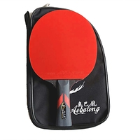 Professional wood plus carbon fiber table tennis racket with two face pemple-in table tennis rubber ping pong racket with a case