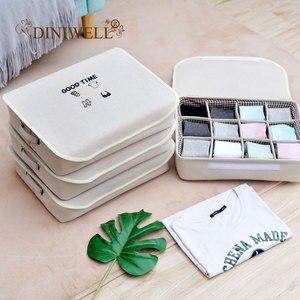 Divisores de cajón DINIWELL, 12 cajas de almacenamiento de rejillas con manijas de cubierta, organizadores de armario para sujetador, ropa interior, caja de almacenamiento de calcetines