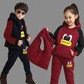 Primavera Otoño Niños Que Arropan el sistema Chicas Deportes Trajes Niños Ropa de Los Niños Chándales de Terciopelo Fijó Adolescente Sweatershits SYHB120901