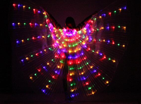 2018 Women's Fiber Optic Costume Wings Glow in the Dark Isis Wings LED Light up Belly Dance Wings With Stick Colorful