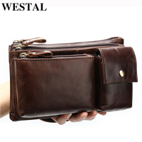 WESTAL wallet men's genuine leather clutch male purse for men multifunctional men's culth bag money bag waist pack for men 8798