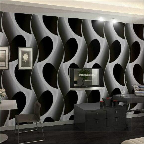 Abstract 3d Geometric Wallpaper Pvc Grey Black Wallpaper Modern