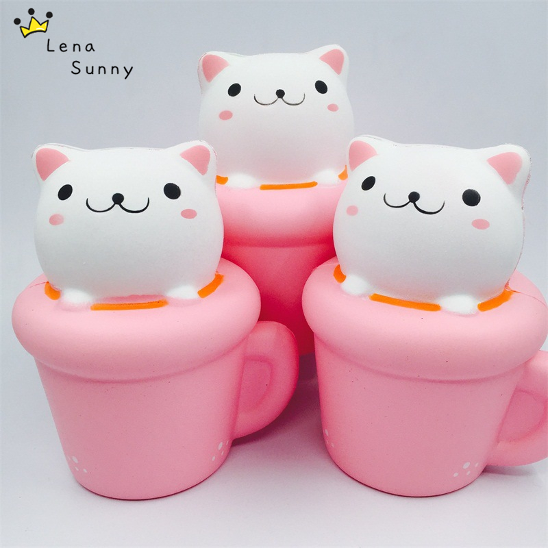 20PCS Lot Cute Coffee Cup Cat Scented Squishy Slow Rising Novelty Kid Squeeze Toys For Children