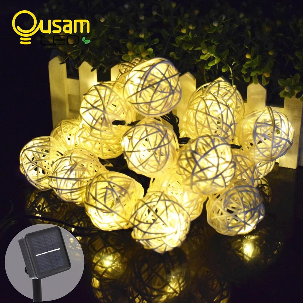 Luces de hadas solares 8 metros de ratán luz cadena 20 LED - Iluminación de vacaciones