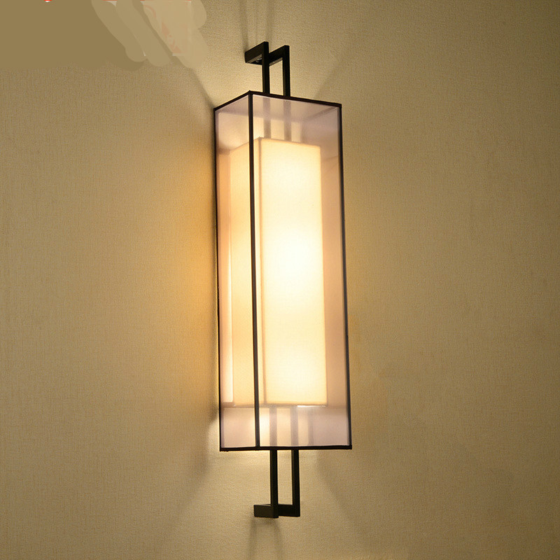 New Chinese Classical Minimalist Iron Fabric E14 Wall Lamp For Living Room Hotel Corridor Bedroom Hall Stairs 50/60/80cm 1118 Goods Of Every Description Are Available Led Indoor Wall Lamps