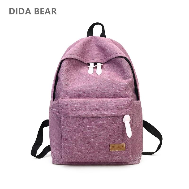 DIDA BEAR 2017 Women Canvas Backpacks Ladies Shoulder School Bag Rucksack For Girls Travel Fashion Bag Bolsas Mochilas Sac A Dos