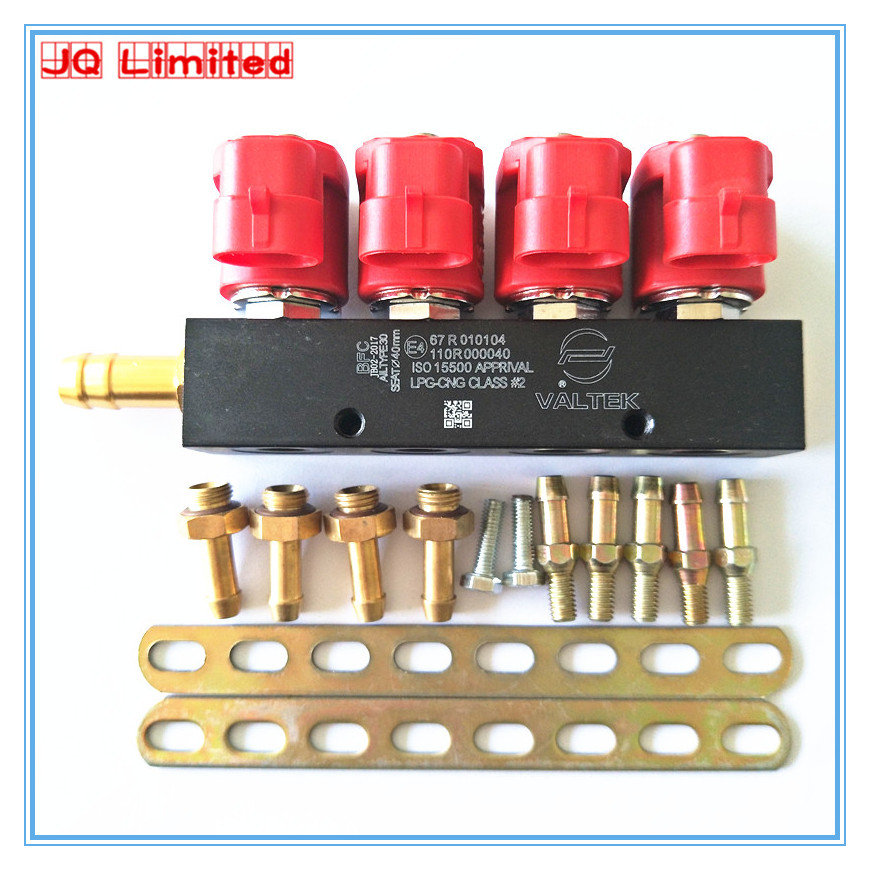Silent high speed CNG LPG Injector Rail 3Ohms for 4cylinder Sequential injection System Common Injector Rail