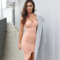 2018 New Europe And The United States Ms Hanging Neck Halter Open Split Hip Hip Dress