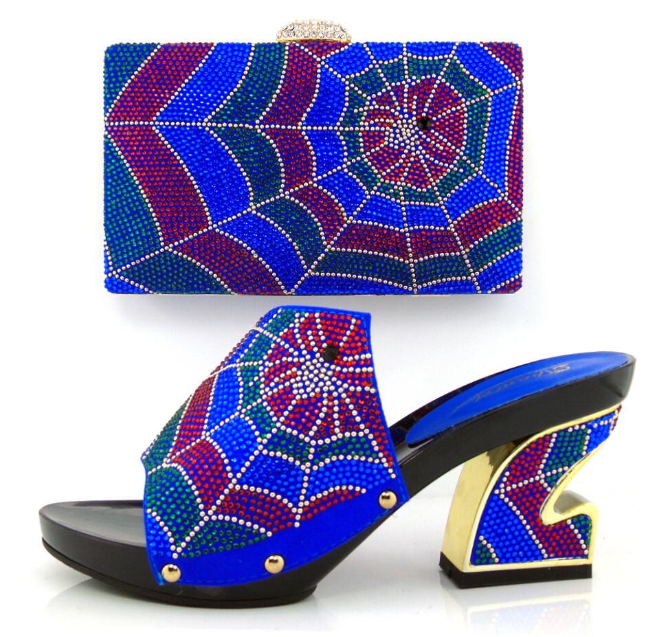ФОТО Hot Selling Elegant Italian Shoes and Bag Set Matching Wholesale Dress Shoes And Bags In Royal Blue Color! MQQ1-12