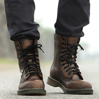 Vintage Military Combat Boots Men High Top Boots Genuine Leather Shoes Men Motorcycle Boots Riding Man Lace up Shoes