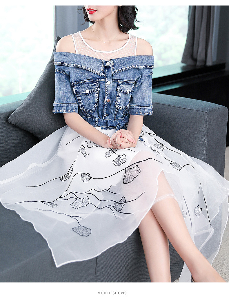 Ladies fashion 18 summer dress women elegant sweet slim O-neck half sleeve irregular Printing organza stitching denim dresses 6