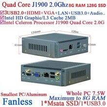 Mirco PC Mini Computer with Intel Celeron Quad Core J1900 hd living room nano pc with 8G RAM 128G SSD
