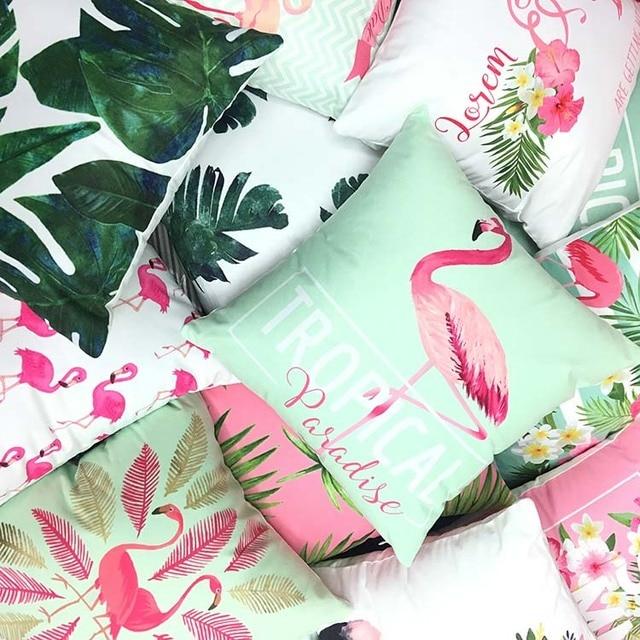 Us 643 8 Offsupersoft Velvet Flamingo Poduszka Pokrywa Liście Poszewka Poduszka Dekoracyjna Dekoracyjne Rzut Poduszki Poszewka Na Poduszkę 40x40