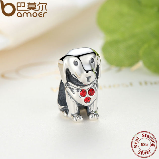 925 Sterling Silver Dog Charms With Red Created Stone
