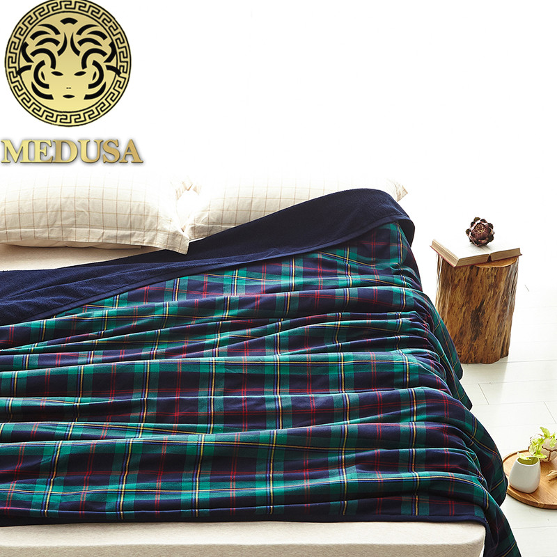 Medusa 2018 new Scotland plaid washing cotton bedspread throw blanket for summer