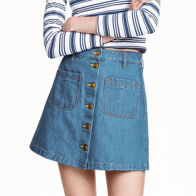 Double Pocket Button High Waist Women Denim Skirt 2019 New Fashion Package Hip Casual Cintage A-line Summer Skirt