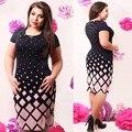 Модный Офис Женщины Dress Большие Размеры Новый 2017 Плюс Размер Женская Одежда 6XL Зима Dress Повседневная С Длинным Рукавом Bodycon Dress